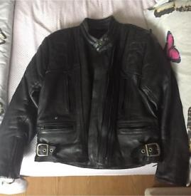 Real leather armoured motorbike jacket, helmet and gloves
