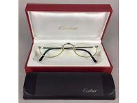 -CARTIER PARIS, FRANCE- GENUINE PAIR DESIGNER SPECTACLES GLASSES 320784 -BOXED-