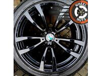 "20"" Genuine BMW X5 X6 M Sport alloys staggered excel cond new runflat tyres."