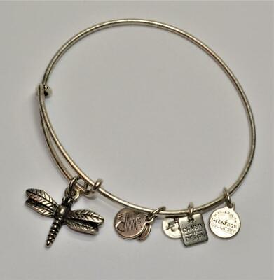 ALEX & ANI Silvertone Dangle Charm DRAGONFLY Expandable Bangle Bracelet ()