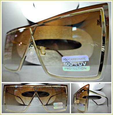7baa5e25f1930 OVERSIZE VINTAGE RETRO Flat SHIELD Style SUN GLASSES Gold Metal Frame Honey  Lens