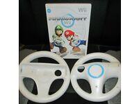 Nintendo Wii Mario Kart bundle with 2 Genuine steering wheels
