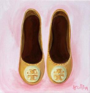 SALE Original Pink Tory Burch Flats Painting Illustration West Island Greater Montréal image 2