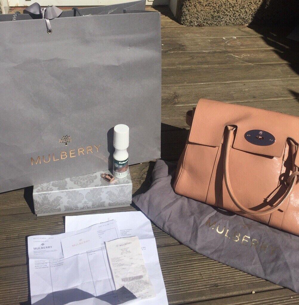 2ec750ff569 Designer mulberry handbag real authentic plaster pink patent leather  Bayswater bag