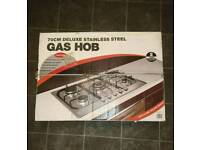 70 cm stainless steel gas hob with wok burner