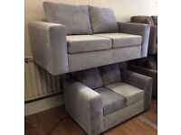 MODERN UPHOLSTERED GREY VELVET FABRIC - 3 Seater + 2 Seater SOFA SUITE + FREE LOCAL DELIVERY