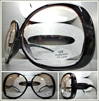 Übergröße Klassischer Retro-Stil Sonnenbrille Riesig Rund Schwarzes Gestell Hell