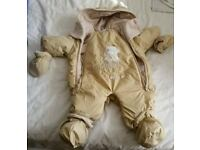 Newborn baby snowsuit for boy or girl with detachable booties and gloves