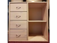 FLEXA Cupboard with 4 drawers white washed pine. Excellent condition - as new.