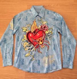 """Brand new Christian Audigier medium men's light blue """"Life Kills Forever"""" shirt. Rhinestones"""