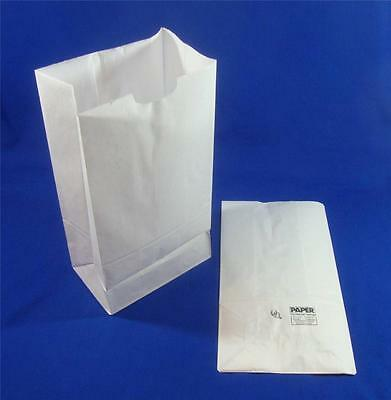 Qty 100 #8 Paper White Kraft Grocery Merchandise Retail Shopping Bags