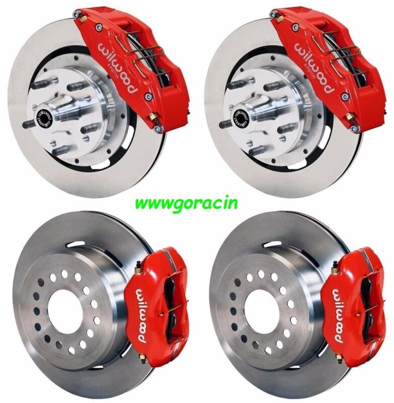 """Wilwood Disc Brake Kit,65-69 Ford,mercury,12"""" Rotors,6 Piston Front Calipers,red"""