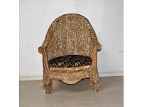 Beautiful hand carved light brown colour antique Afghan chair