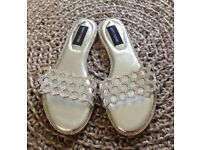 Silver Crystal Honeycomb Flat Sandals Size 5 New Unworn Boxed