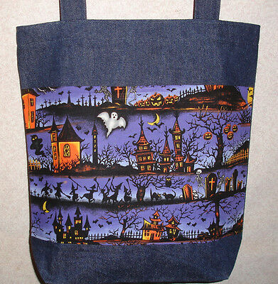 NEW Handmade Large Halloween Witch Haunted House on Purple Background Tote Bag](Large Halloween Desktop Backgrounds)