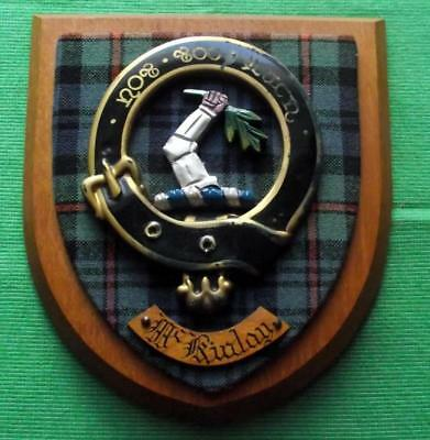 Celtic Vintage Old Scottish Carved Oak Clan McKinlay Plaque Crest Shield Mottos