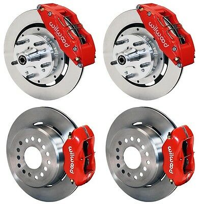 "WILWOOD DISC BRAKE KIT,65-72 CDP C-BODY,12"" ROTORS,6 PISTON RED CALIPERS,CABLES"
