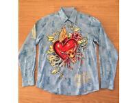 "Brand new Christian Audigier medium men's light blue ""Life Kills"" shirt. Decorated in rhinestones"