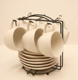 Rayware Egg Shell White Coffee Cups and Saucers Set & Black Metal Stand 13 Pieces