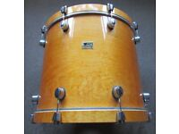 """NATURAL WOOD BASS DRUM 22"""" x 18"""" Extra Deep Shell & REMO Pinstripe Head Maple Undrilled for Drum Kit"""