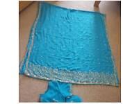 Blue diamante saree