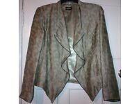 Marks and Spencer, Per Una Speziale,M&S Bronze Print Linen Blend Drape Waterfall Blazer Jacket,UK 16