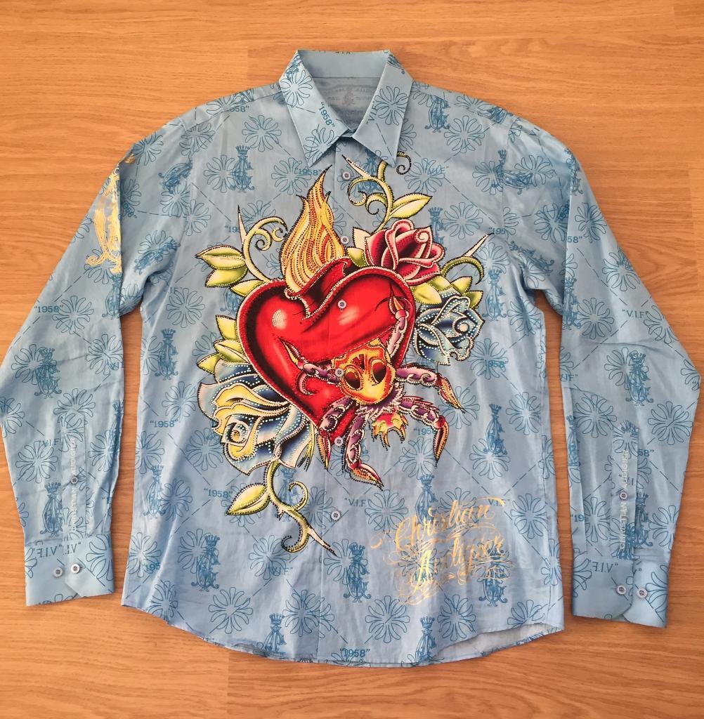 """Brand new Christian Audigier medium men's light blue """"Life Kills Forever"""" shirt. With rhinestones"""