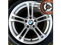 "18"" Genuine BMW 5 series M Sport alloys staggered excel cond Bridgestone runflats."