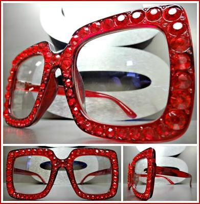 OVERSIZED VINTAGE RETRO Style Clear Lens EYE GLASSES Red Frame & Bling Crystals