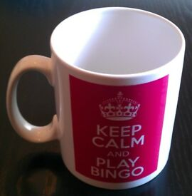 White 'Keep Calm, Play Bingo' Porcelain Mug (new)