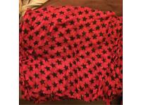 Red and black thin scarf