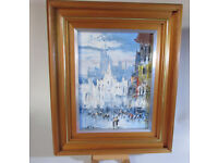 Vintage Antique Early 1900's acrylic painting on canvas Street scene Signed