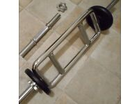 SET TRICEPS BAR + DUMBBELL BAR+ 3 COLLARS + 5KG WEIGHTS house clearance BARGAIN !!!