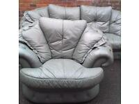 Leather button back sofa and armchair free delivery