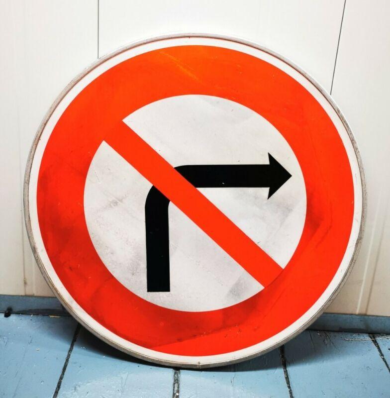 Vintage French reflective street sign road metal no right turn circular warning