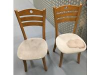 pair pine dining chairs need re upholstering £10 pair