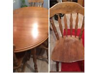 SOLID WOOD. LARGE TABLE AND 4 CHAIRS