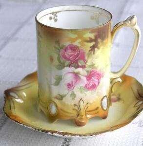 R.S. Prussia Demitasse Footed Cup and Saucer