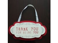 """Wall hanging decor piece: """"Thank you for being you"""""""