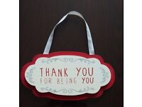 "Wall hanging decor piece: ""Thank you for being you"""