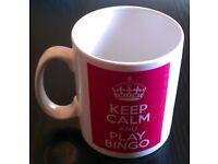 White 'Keep Calm, Play Bingo' Porcelain Mug (new)