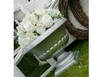 Silver painted planter