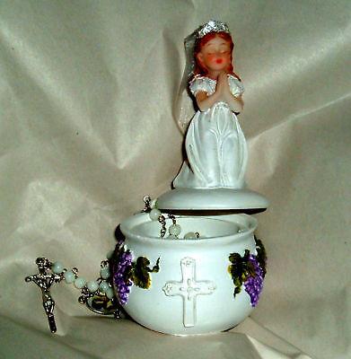 - First Communion GIRL Keepsake Box & Rosary Catholic NEW