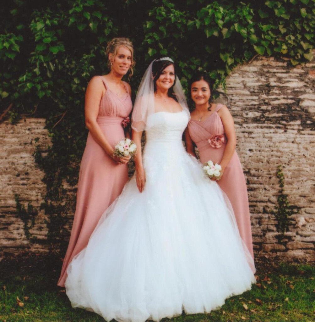 TWO STUNNING GINO CERRUTI BRIDESMAID DRESSES - DUSKY PINK