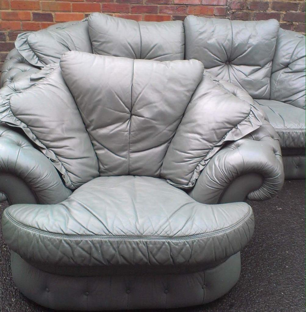 Green button backed leather sofa and chair free delivery