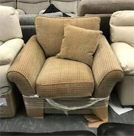 DFS fabric brown check armchair
