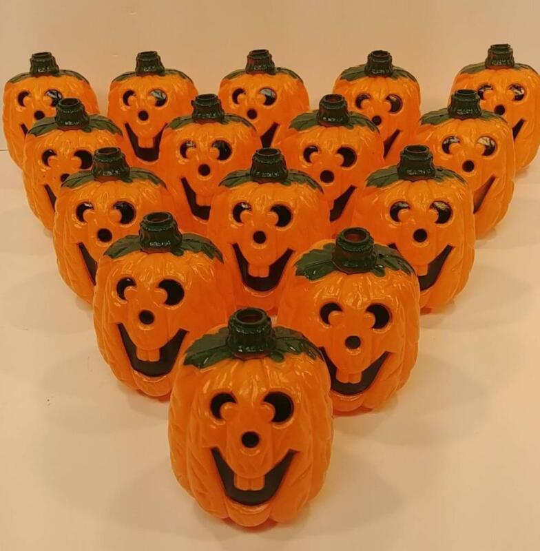 Lot of 15 JOL Jack-O-Lantern Pumpkin Sting Light Plastic Blow Mold Lights