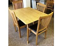 OAK DINING SET WITH TABLE & 4 CHAIRS