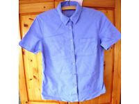 Blue self-patterned short sleeve women's shirt. Size 10/12.