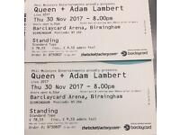 Queen Standing Tickets X 2 Birmingham Thur 30th November